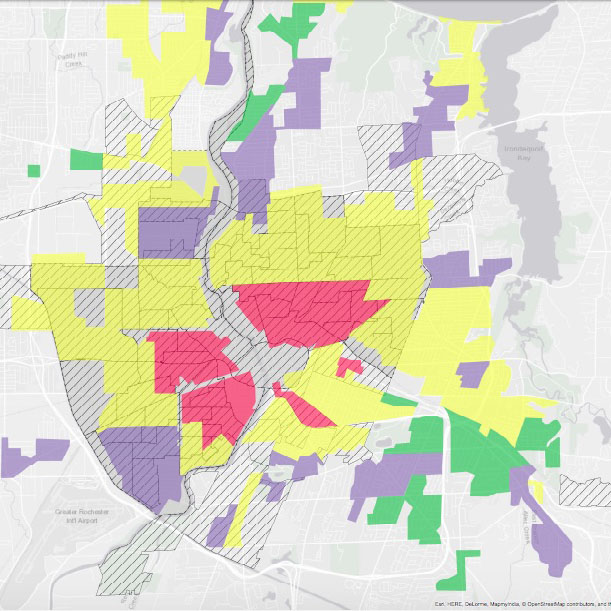 Color coded map of Rochester